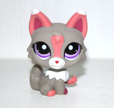 Littlest Pet Shop Animal Purple Eyes Pink Grey Fox Figure Doll Child Toy