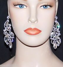 SPARKLING BRIDAL SILVER WITH MARQUISE AND ROUND RHINESTONE CRYSTAL DROP EARRINGS