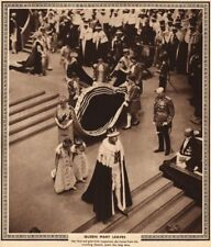 CORONATION 1937. Queen Mary of Teck leaves Westminster Abbey 1937 old print