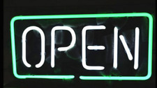 "Business Shop Open Green Neon Sign Beer Bar Gift 14""x7"" Light Lamp Bedroom"