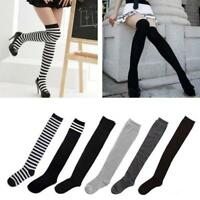 Women Girl Stripe Stripy Over The Knee Thigh High Stocking Knit Thick Long Socks