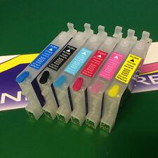 6x Reusable Empty Cartridge For Epson Photo R 200 220 300 320 RX 500 600 620 640