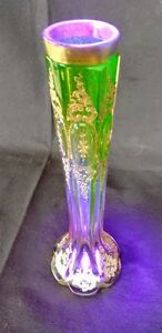 MOSER Art Nouveau Green down to Rose Pink, Intaglio Etched, Gilded, Vase 1890's