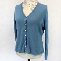 Terryl 2-Ply 100% Cashmere Knit Soft Grey-Blue V-Neck Cardigan Sweater Large