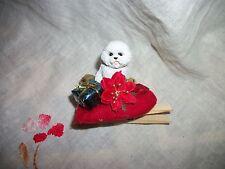Bichon Frise Dog Tiny Miniature Christmas Holiday Clip-on ORNAMENT