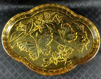 Art Deco Glass Tray Vintage Vanity Stand Dressing Table Plate Amber Butterflies
