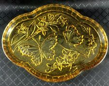Art Deco Butterfly Amber Glass Tray Plate Serving Platter Vanity Stand 1930s