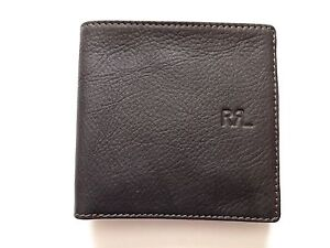New Ralph Lauren RRL Java Dark Brown Pebbled Leather Bifold Wallet