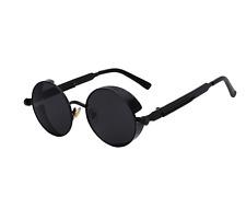 Vintage John Lennon Sunglasses Hippie Steampunk Black Lens 60's Retro Sunglasses