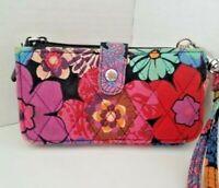 Vera Bradley FLORAL FIESTA Smartphone Wristlet Floral Trifold Wallet Clutch