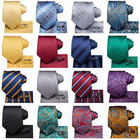 Mens Classic Tie Set Pocket Square Cufflinks Silk Woven Necktie Formal Wedding