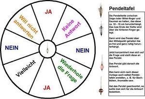 Pendeltafel f. Pendelbefragung mit Anleitung laminiert