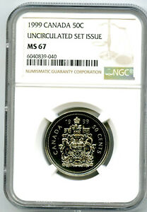 1999 CANADA 50 CENT NGC MS67 HALF DOLLAR UNCIRCULATED SET ISSUE
