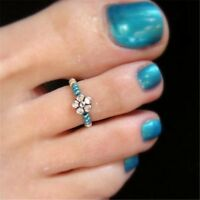 Celebrity Women Girl Beach Barefoot Rhinestone Toe Ring Finger Foot Ring Jewelry