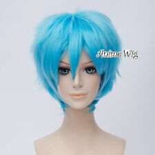 For EVA Ayanami Rei Sky Blue Short 30CM Straight Layered Anime Cosplay Wig + Cap
