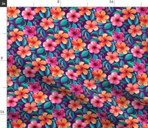 Colorful Watercolor Hibiscus Deep Plum Small Spoonflower Fabric by the Yard