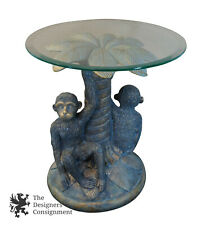 """Tropical Monkey Accent Side Table Palm Tree Pedestal Beveled Glass Top 20"""""""