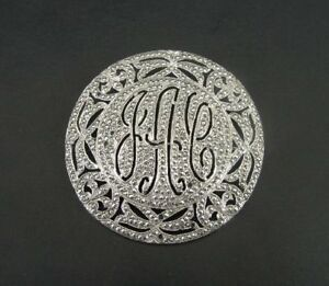 Large Round Initials Marcasite Stones Sterling 925 Silver Brooch Pin