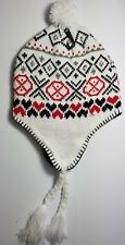 NEW Fashionable Unisex WHITE RED Diamond Peruvian Winter Hat With Pom Poms