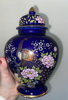 Vintage Cobalt Blue Ginger Jar With Peacock/Floral Scene Made In Japan