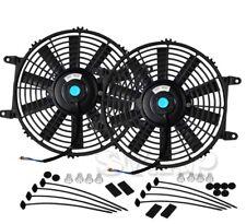 "2X 10"" Slim/Thin 12V Push/Pull Electric Radiator/Cooling Fan Red+Mounting Kit"