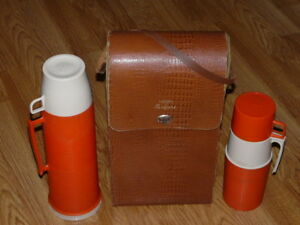 Vintage Mid-Century Leather Safari Case with 2 Thermos Bottles