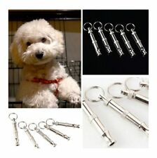 Pet Dog Training Adjustable Ultrasonic Sound Ring Whistle Keychain Pitch Silver