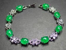 White Gold Plated Green Jade Cabochon Imitation Diamond Flower Bangle Bracelet