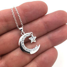 925 Sterling Silver Moon And Star Pendant Necklace with CZ Stones FAST FREE SHIP