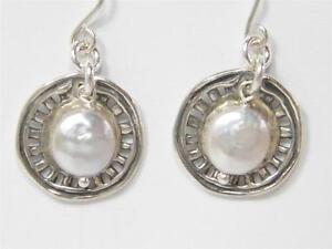 Sterling Silver Earrings Israeli dangling pearl earrings boucles d'oreilles