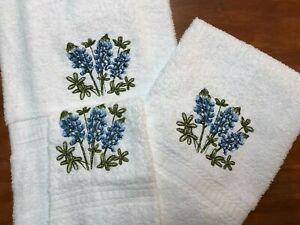 Embroidered White Bath Towel, Hand Towel & Wash Cloth Set Bluebonnet Flowers