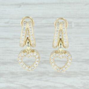 1ctw Diamond Heart Earrings 14k Yellow Gold Pierced Statement Dangle