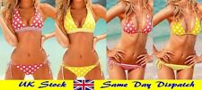 Women Ladies Fashion Halterneck Bikini Polka Dot Stripes Pink Yellow S M L sizes