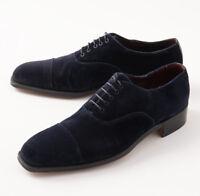 NIB $3600 SILVANO LATTANZI Navy Blue Velvet Cap Toe Balmoral US 9 (It 8) Shoes