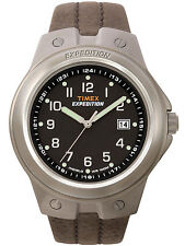 """Timex T49631, Men's """"Expedition"""" Brown Leather Watch, Indiglo, Date, T496319J"""