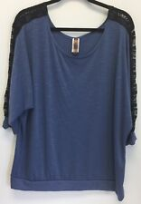 Joseph Q Top Size 3X Women's Plus Blue Black Lace Trim on Sleeve   GG9