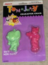 Tom and Jerry Character Chalk Carded Toy Set by Janex Mint on Card from 1989