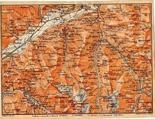 Carta geografica antica SVIZZERA Sion Sud Vallese Old Map Switzerland Suisse1905