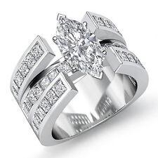 Splendid Marquise Diamond Fashion Engagement Ring GIA F SI1 14k White Gold 2 ct