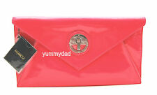 Mimco Molten Envelope Clutch Neon Pink Leather BNWD Large Pouch Bag