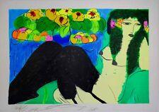 WALASSE TING. Litografia Original -Woman in black suspenders- firmada y numerada