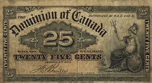 1900 Dominion of Canada 25c Cent Bank Note Ottawa Fractional Currency