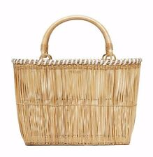 Serpui Marie Janice Basket Wicker Tote Bag With Leather Trim & Wood Handles