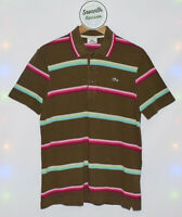 LACOSTE Brown Striped Golf Polo Short Sleeve Collared T-shirt Size M