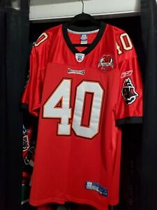 Mike Alstott Red Buccaneers Reebok Size 54. Stitched W 30 Seasons Patch.