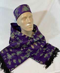 African Kufi Hat & Scarf Purple & Gold NICE!