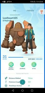 Pokémon Go PTC account shiny regirock charizard yveltal regice regirock garchomp