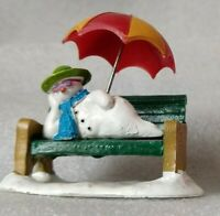 Lemax Christmas Village Figurine Snowman R&R Retired chillin on bench w/umbrella