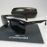 Men Women Retro Sunglasses Square Matte Black Frame Metal Carrera Glasses +Box