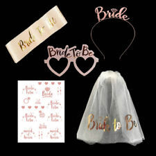 5PCS Rose Gold Bride to Be Set Sash Glasses Tattoos Crown Veil Hen Night Party